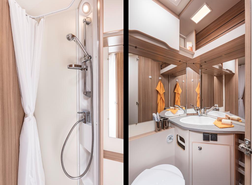 Två interiörbilder från badrummet. Duschutrymme och handfat