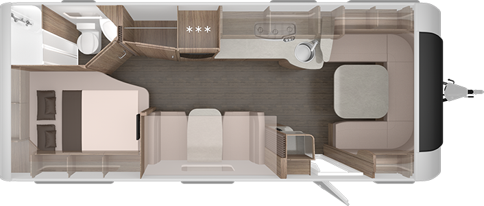 Planlösning för husvagnen. Den har dubbelsäng bak, dinett och kök i mitten och en stor u-formad soffa längst fram.