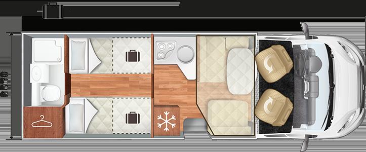 Bild av planlösningen för en husbil, visad uppifrån. Längst fram finns förarstolar, sedan en sittgrupp och en fällbar säng. Därefter ett kök, två långbäddar och längst bak ett badrum.