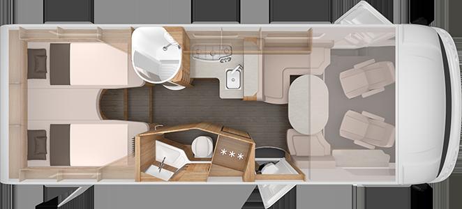 Planlösning för Sky I 700 LEG. Bilens front är till höger. Från vänster syns två enkelbäddar, placerade längst bak. Därefter ett badrum med dusch på ena sidan och toalett och handfat på andra. Därefter kök, sittgrupp och slutligen förarstolarna. Ovanför förarstolarna antyds att det finns en fällbar säng.