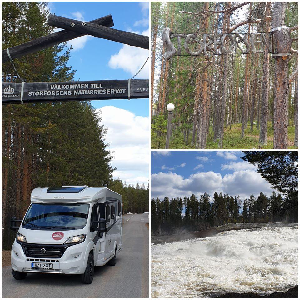 """Ett kollage av tre bilder, envisar en vit husbil ståendes under skylten """"Välkommen till Storsjöforsens naturreservat"""", en visar träd och en visar forsande vatten i förgrunden och skog i bakgrunden"""